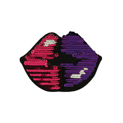 Patch lips sequins 60x85mm pink 1pc