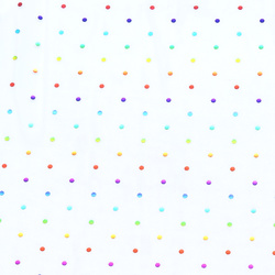 Mesh white with multicolored foil dots