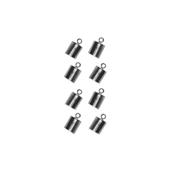 End cap 7mm silver plated 8 pcs