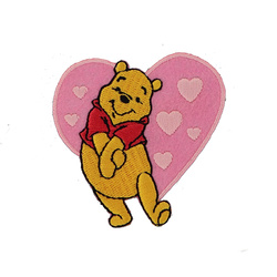 Patch WINNIE THE POOH 60mm pink/yel. 1pc
