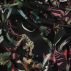 Woven viscose black w leaves and animals