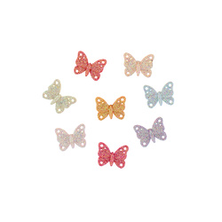 Shank button 14mm glitter butterflies 8p