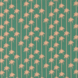 Cotton green w rose palms