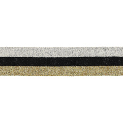 Ribbon knitted 30mm gold/black/silver 2m