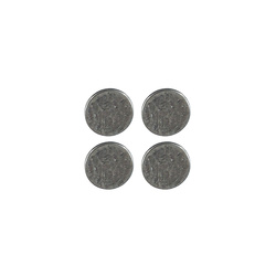 Shank button embossed 15mm silver 4pcs