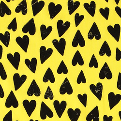 Stretch jersey light yellow with hearts
