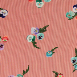 Woven viscose red/white stripe w flowers
