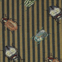 Jacquard gold/green stripe with bugs