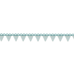 Deco ribbon 14mm turquoise/white 2m