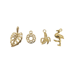 Pendant tropical 9-20mm gold 4pcs