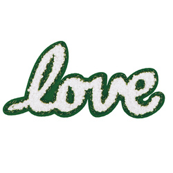 Patch LOVE 11,3x5,5cm green/white 1pcs
