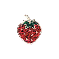 Patch strawberry 6x7cm red/green 1pc