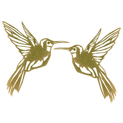 Patch hummingbird 22x23cm gold 2pcs