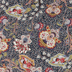 Woven viscose navy with paisley flowers