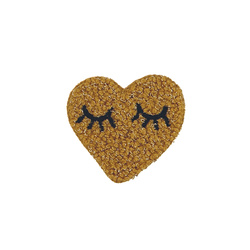 Patch heart 52x50mm caramel 1pcs