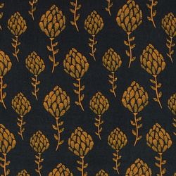 Woven viscose navy w yellow flower