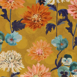 Satin jacquard dusty curry with flowers