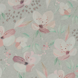 Stretch jersey grey melange w flowers