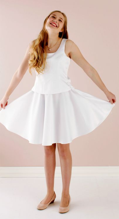 Top and skirt in white party satin