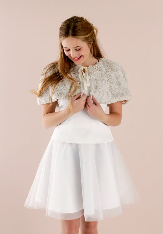 Tulle skirt, corsage and fur cape