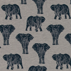 Stretch jersey grey melange w elephants