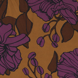 Woven twill brown with big flowers