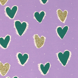 French terry w stretch purple w hearts