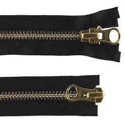 YKK zip 2-way open end 80cm black/gold