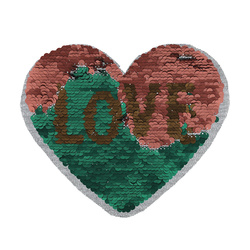 Patch heart/LOVE 19x16cm rouge/green