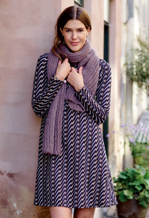 Long-sleeved dress and scarf