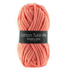 Knitting yarn cotton tube mix coral