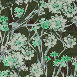 Viscose stretch jersey green w flowers