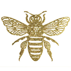 Patch bee 11x8cm gold glitter 1pc