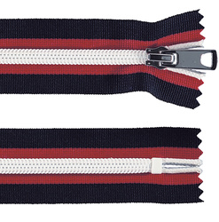Zip 6mm closed end navy/red/white