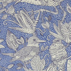 Woven blue with nature bird print