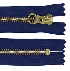 YKK Zip 6mm closed end cobalt/gold