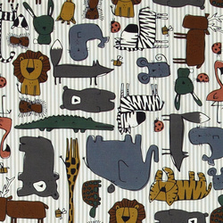 Cotton white/grey with safari animals