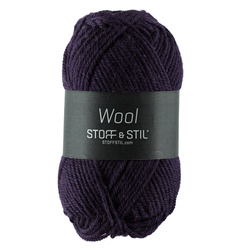 Knitting yarn wool dark purple