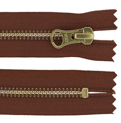 YKK zip 6mm closed end redbrown