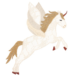Patch unicorn 23,5x18cm white 1pcs