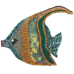 Patch fish 22x18cm green/gold/blue 1pc