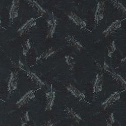 French terry stretch dusty blue w leaves