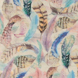French terry w watercolor feather print