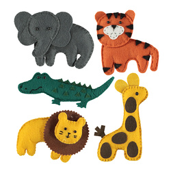 Kit felt safari animals 9-17cm 5pcs