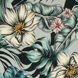 Viscose stretch jersey grey w flowers