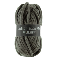 Garn cotton tube mix mörk grågrön