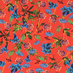 Woven crepe viscose red w field flower