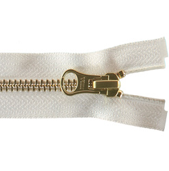 YKK zip 6mm open end gold/white