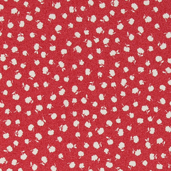 Woven satin red with small white flowers