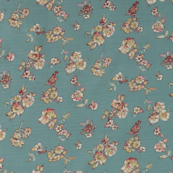Woven slub aqua with small flowers
